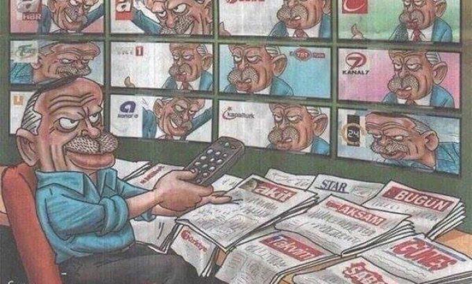 Caricatura que demonstra o controle da mídia exercido por Erdogan