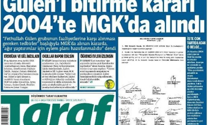 <strong>Jornal Taraf publicou documento que mostra o acordo entre militares e Erdogan para acabar com Gulen</strong>