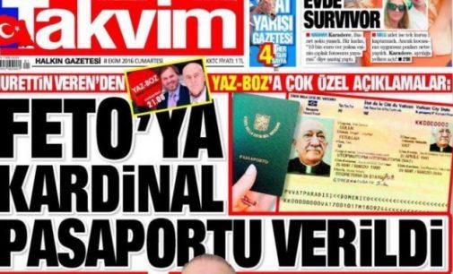Jornal pró-governo alega com imagem editada que Gulen tem passaporte do Vaticano