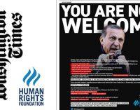 HRF publica anúncio de página inteira dizendo a Erdogan 'Você não é bem-vindo'
