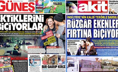 Jornais turcos pró-governo dizem que atentado em Manchester foi resultado do apoio do RU ao ISIL