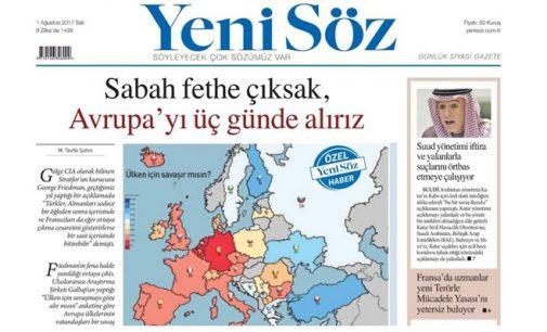 Jornal pró-governo alega que a Turquia conquistaria a Europa em três dias