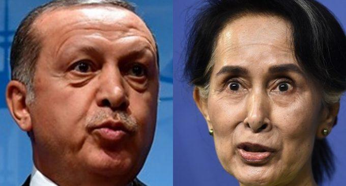 Presidente Erdogan fala ao telefone com a líder de Myanmar, Suu Kyi