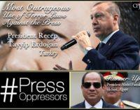 Erdogan está no topo dos líderes mundiais em dois 'prêmios de opressor da imprensa' do CPJ